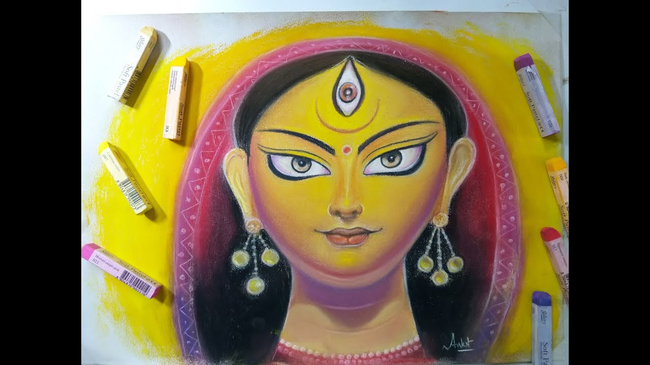 Drawing Durga Maa Using Pastels