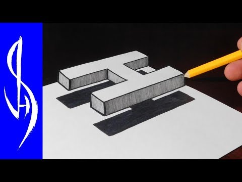 How To Draw 3D Floating Letter H - Trick Art On Paper
