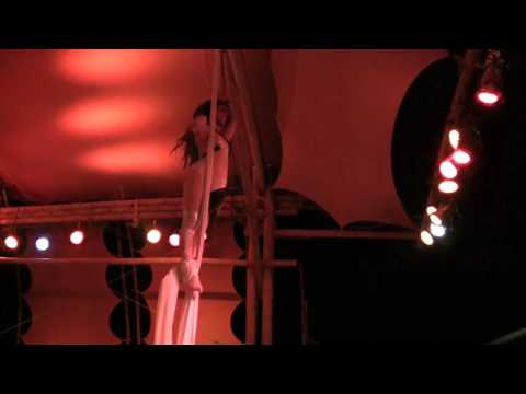 Fractal Nation Aerial Silk Performance, Krystaal Rain w/ David Starfire @ Burning Man 2011
