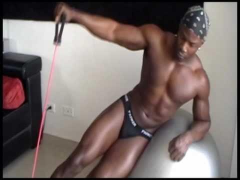Black men stripper model fitness video workout routines