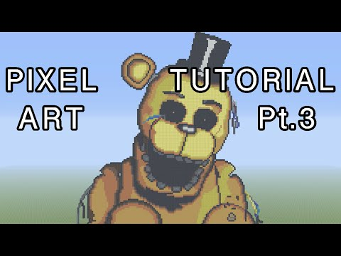 Minecraft Pixel Art Tutorial - Golden Freddy FNAF Part 3