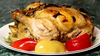 Как запечь курицу с апельсинами и медом в духовке