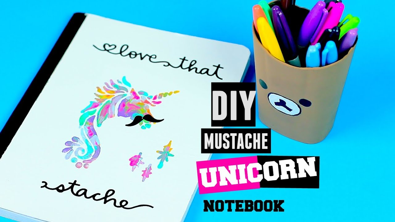 Diy school supplies unicorn mustache notebook decoration for Back to school notebook decoration ideas