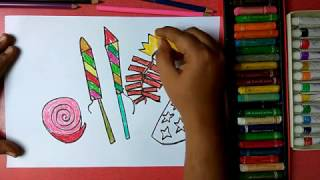 How to draw colorful crackers for Diwali step by step very easily for kids