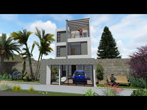 Casa de 2 pisos moderna 6 x 12 metros interior villa for Casa moderna minimalista interior 6m x 12 50 m