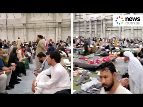 Cramped conditions for Afghan evacuees at US airbase in Qatar