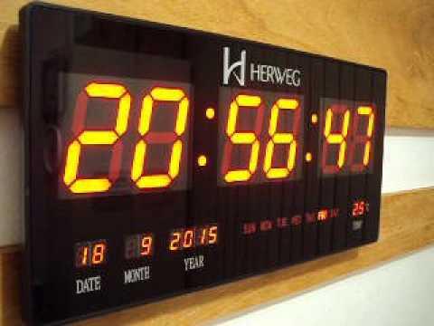 154de65a27d RELOGIO DE PAREDE HERWEG DIGITAL LED VERMELHO 46 CM X 23 CM 6430 - YouTube
