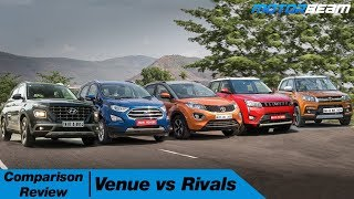 Venue vs XUV300 vs Vitara Brezza vs EcoSport vs Nexon In Hindi | MotorBeam हिंदी