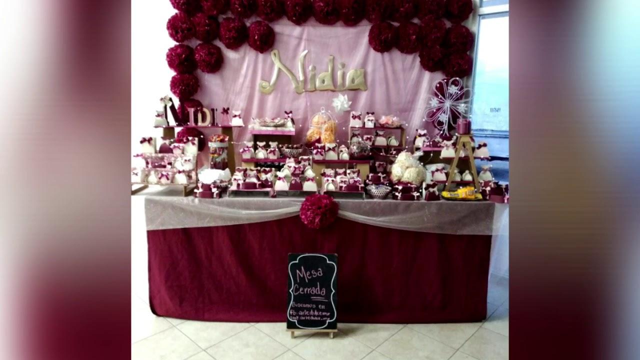 Mesa de dulces para XV Años en tonos Vino, dorado y rosa / Candybar Sweet  XV - YouTube