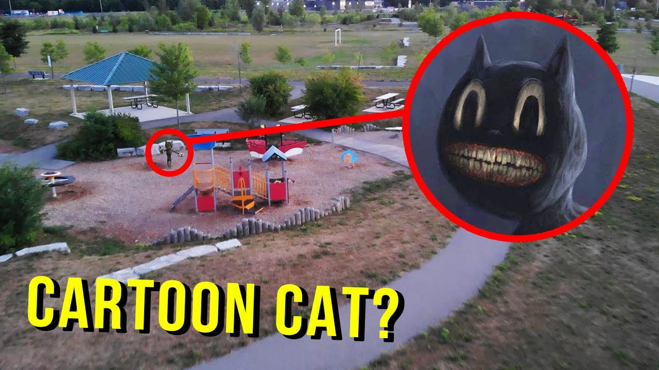 DRONE CATCHES CARTOON CAT AT HAUNTED PARK!! (WE FOUND HIM!)