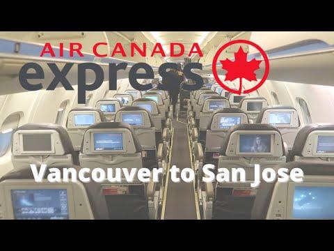 Night Flight From Vancouver To San Jose On Air Canada AC8120 Bombardier CRJ-900