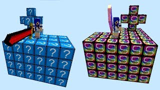 ILHA LUCKY BLOCK AZUL vs ILHA LUCKY BLOCK VIDEO GAMES l MINECRAFT