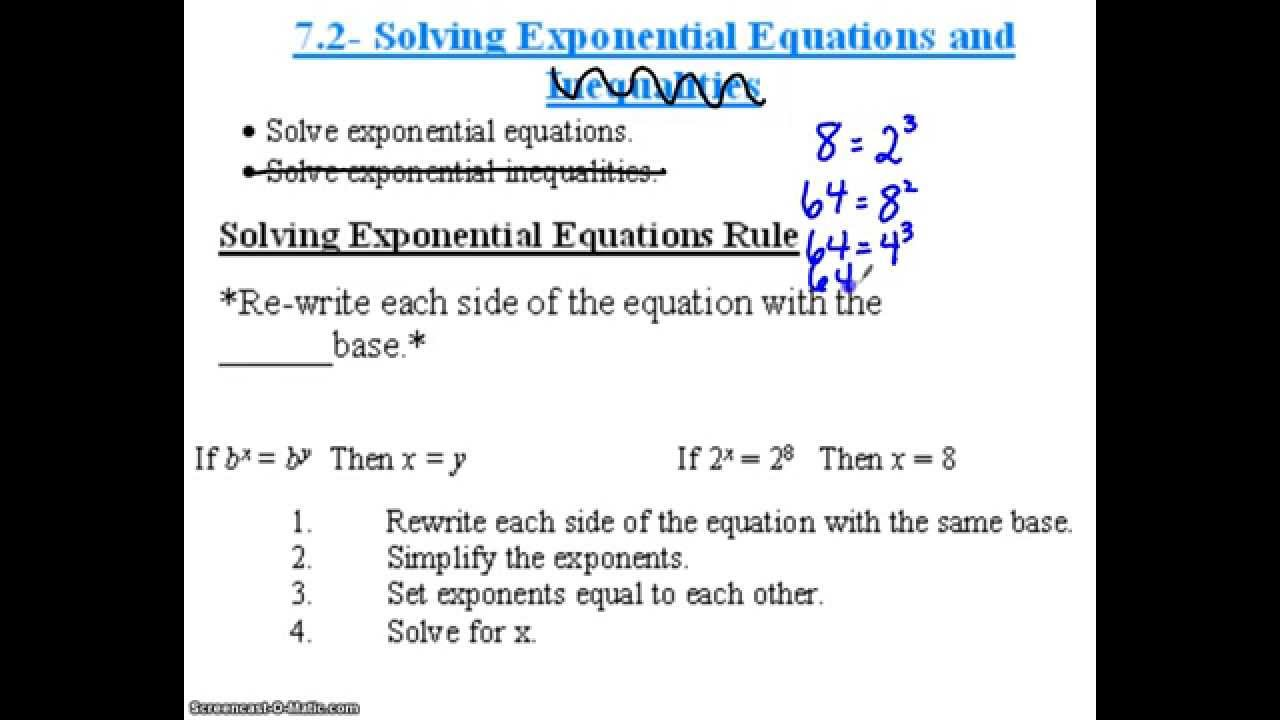Algebra 2 7 2 Solving Exponential Equations Lessons Tes Teach