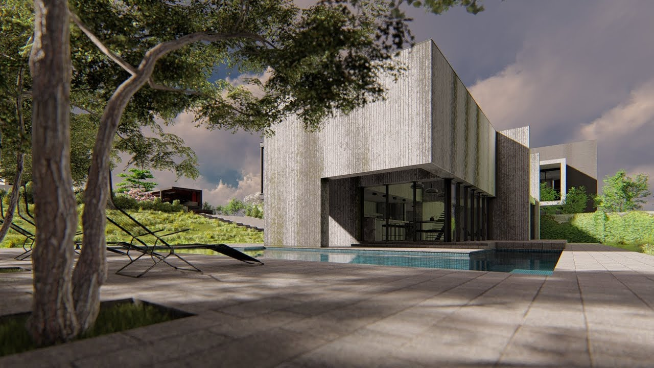 Lumion 8 pro modern brutalist house1