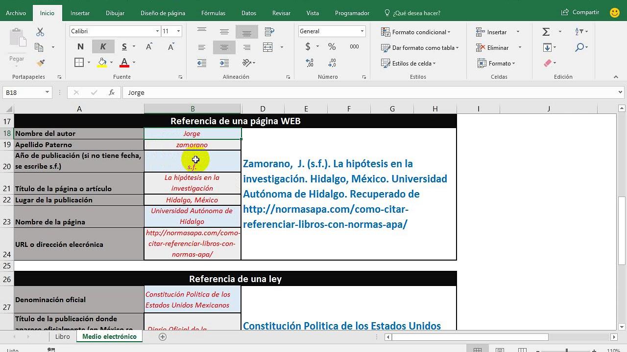 Referencias Formato Apa Archivo En Excel