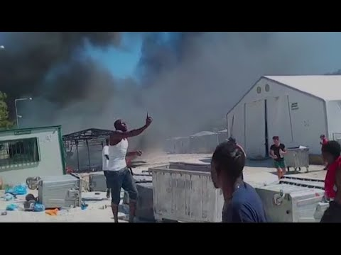 Riot and fury as Lesbos migrant camp is set on flames