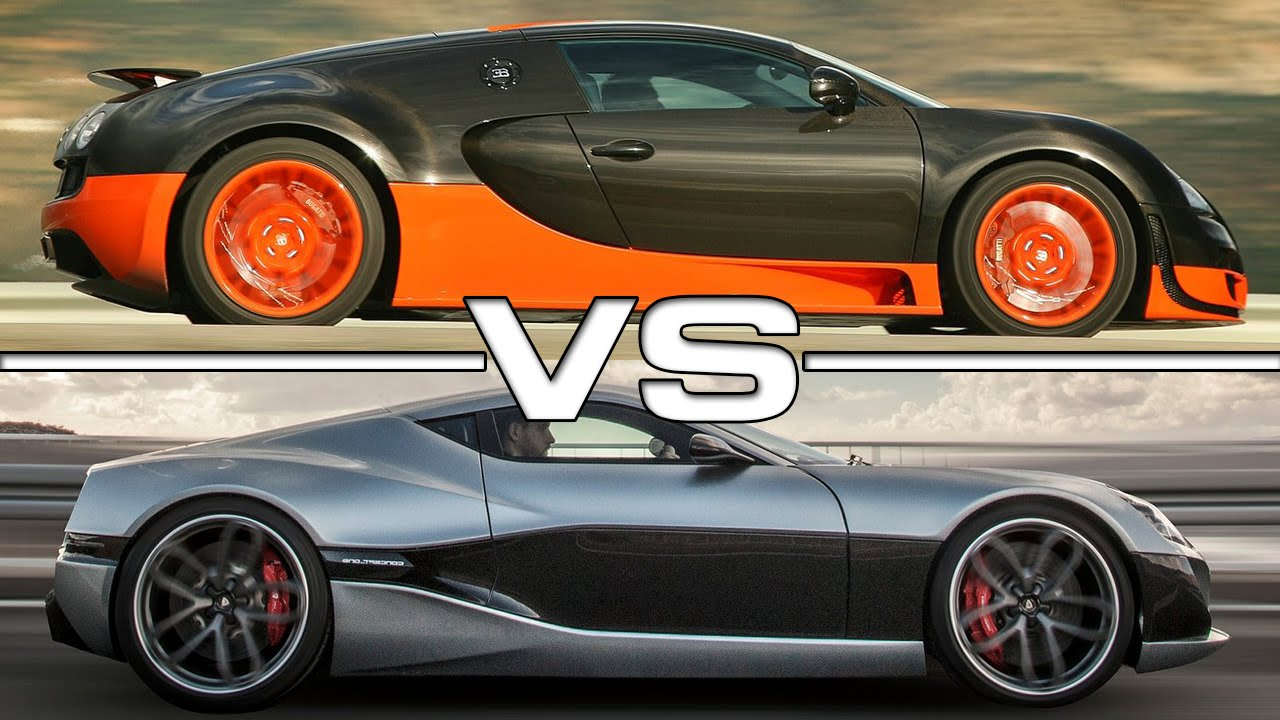 bugatti veyron super sport vs rimac concept one youtube. Black Bedroom Furniture Sets. Home Design Ideas