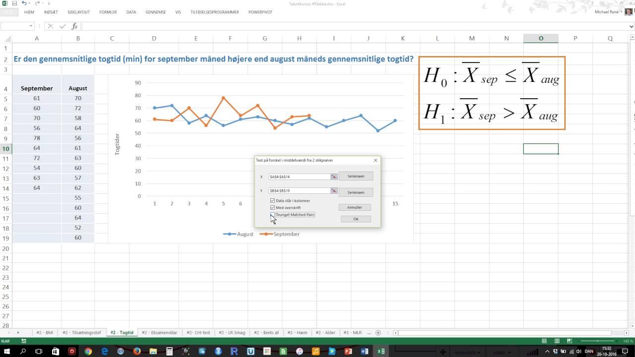 Test af to middelværdier for en variabel - Statistik med Michael René