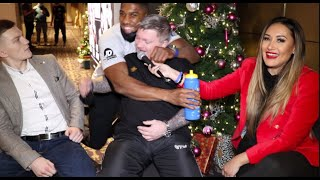 ANTHONY JOSHUA BEAR HUGS RICKY HATTON AND WISHES HIS SON CAMPBELL HATTON THE BEST ON PRO DEBUT