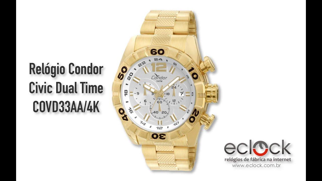 30c1e052e2075 Relógio Condor Masculino Civic Dual Time COVD33AA 4K - Eclock - YouTube