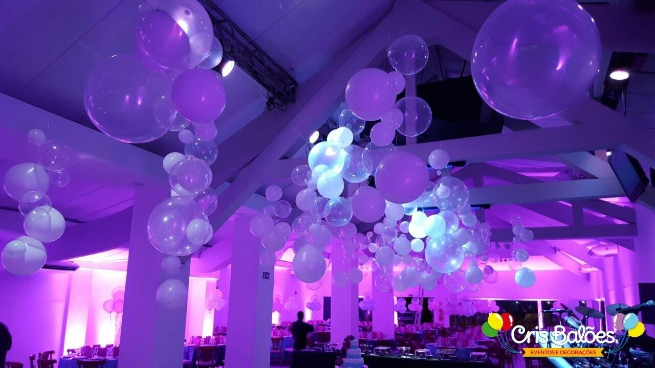 Decoraç u00e3o com Balões Festa 15 Anos Maggiori Curitiba YouTube -> Decoração De Festa Com Balões No Teto