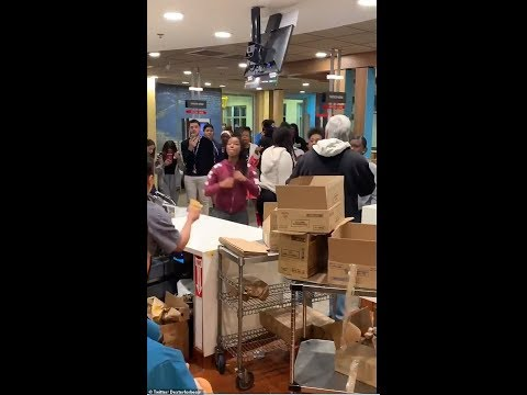 Shocking Moment! L.A McDonald's Brawl! Mother ask teens to leave kids play area.
