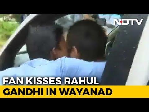Rahul Gandhi Ambushed With Kiss In His Kerala Constituency