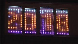 видео Световые гирлянды на окна. Оформление окон светодиодными гирляндами. Новогодние гирлянды на окна.