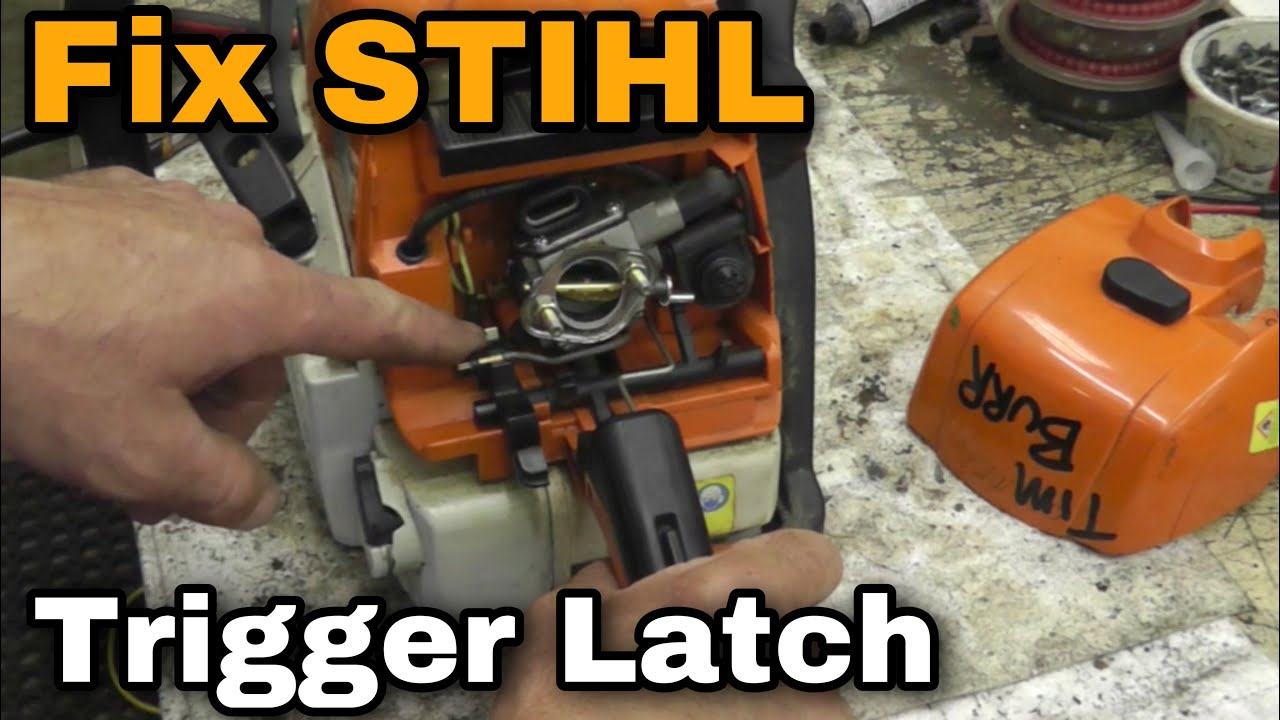 how to repair or fix a stihl trigger control latch on a chainsaw with taryl youtube [ 1280 x 720 Pixel ]
