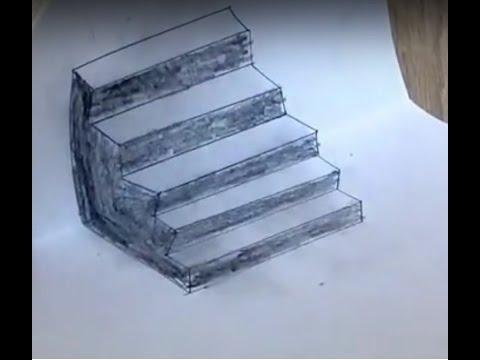 как нарисовать лестницу карандашом
