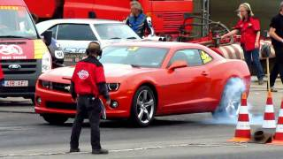 BRAND NEW Chevy Camaro SS BURNOUTS & dragrace @ Dragracing Drachten 2011 [720P HD]