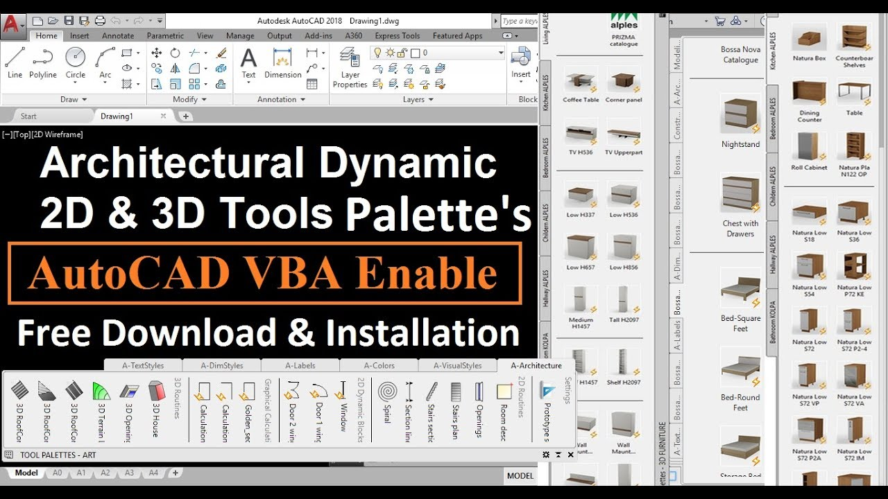architectural 2d 3d tool palettes autocad vba enabler 2018 download install part 1 tips. Black Bedroom Furniture Sets. Home Design Ideas