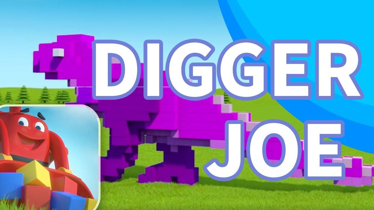 Digger Joe - T-Rex Dinosaur for kids smashing cubes, 3D Cartoon Animation show for kids