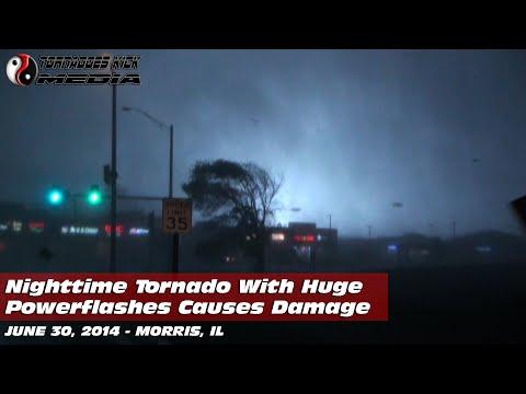 06/30/2014 Morris, IL - Nighttime Tornado & Damage