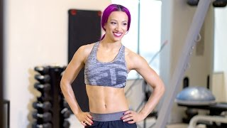 go on the set of sasha banks muscle fitness hers cover shoot