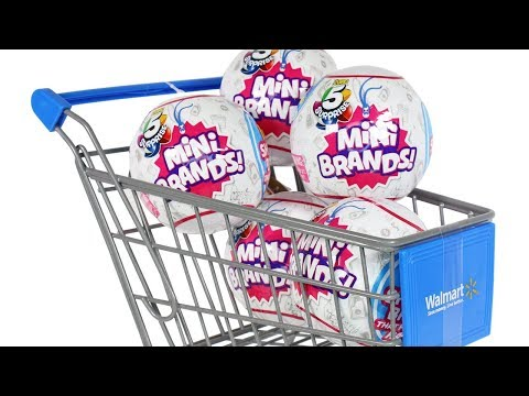 Zuru 5 Surprise Mini Brands Blind Box Shopping Cart Unboxing Toy Review Mini Doll Foods