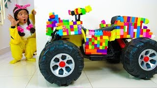 Linda Ride on Toy Sports Car & Pretend Play with Colored Toy Blocks