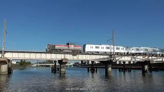 JR貨物 城東貨物線神崎川橋梁を渡る東京メトロ13000系甲種輸送を撮影(R1.119)