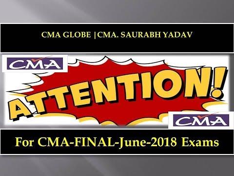 Most Imp- CMA Final   June-2018 Exams #cmaglobe
