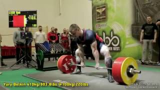 ALLTIME, Deadlift RAW WR by Yury Belkin (Russia), 410kg/903.8 @100kg/220lbs
