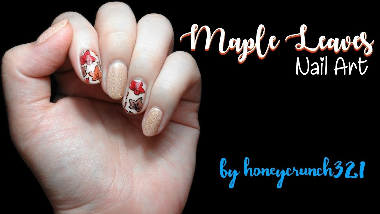 Maple Leaves Nail Art | honeycrunch321 - YouTube