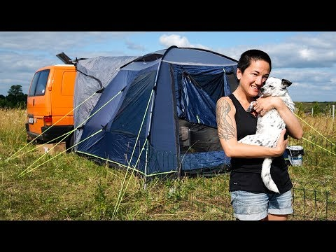 LIVING IN OUR VAN + TENT While We Build Our Tiny House // Mazury, Poland