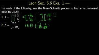 Leon, Sec. 5.6, Exs. 1  矩陣的QR 分解