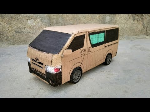 How To Make Remote Control Van || RC Toyota Hiace Van From Cardboard