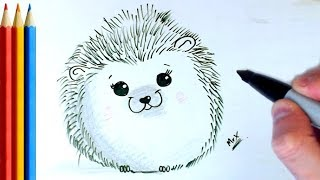 How to Draw Simple Hedgehog - Step by Step Tutorial
