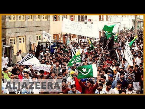 Thousands of people marching towards the centre of Srinagar
