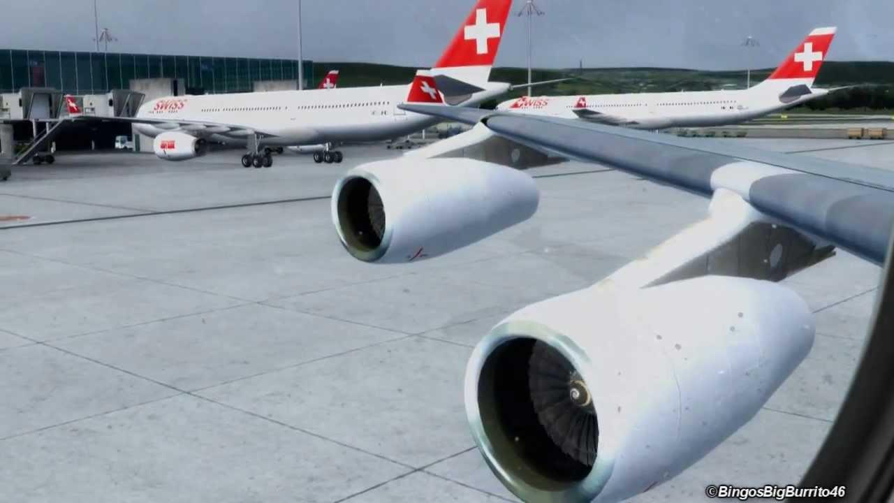 FSX SWISS A340-300 Zurich Take-Off