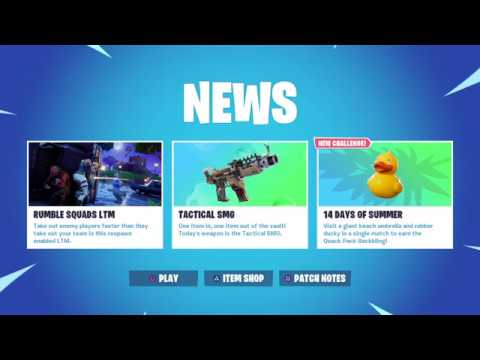 Fortnite News Update Todays Unvaulted Weapon, Tactical SMG, New LTM Rumble Squads, Quack Pack