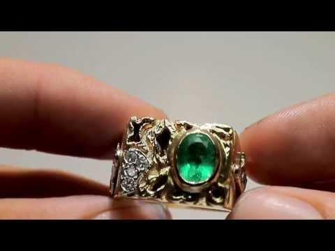 "1.20tcw Handsome Colombian Emerald Old Mine Diamond ""Masonic"" Ring 14k"