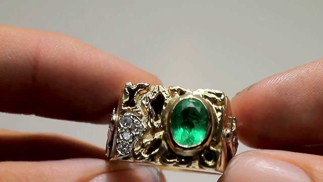 1 20tcw Handsome Colombian Emerald Old Mine Diamond